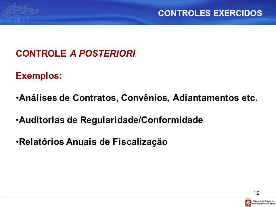 19 CONTROLE A POSTERIORI Exemplos: Análises de Contratos, Convênios, Adiantamentos etc. Auditorias de Regularidade/Conformidade Relatórios Anuais de F