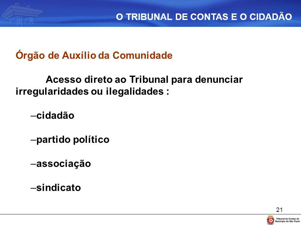 21 Órgão de Auxílio da Comunidade Acesso direto ao Tribunal para denunciar irregularidades ou ilegalidades : –cidadão –partido político –associação –s