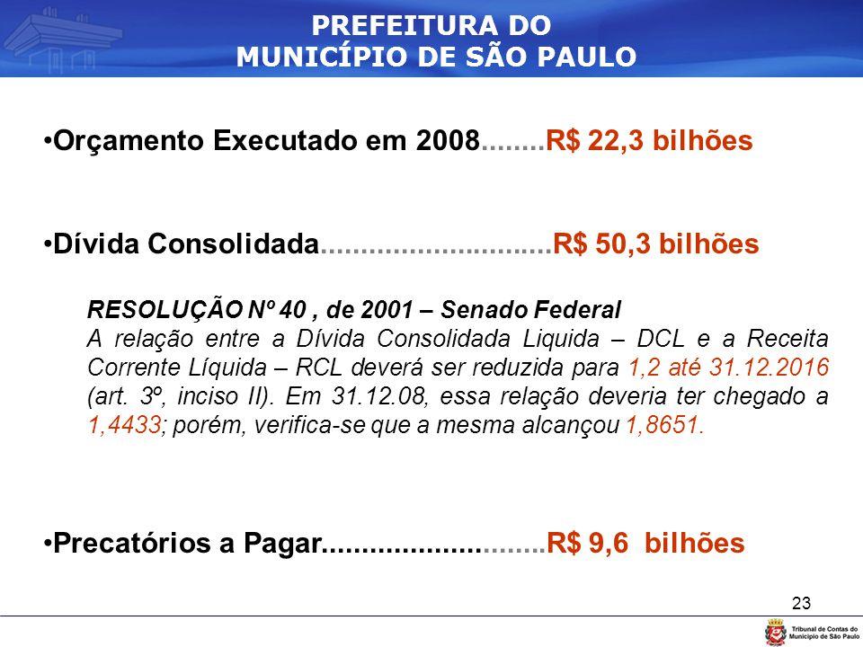 23 Orçamento Executado em 2008........R$ 22,3 bilhões Dívida Consolidada.............................R$ 50,3 bilhões RESOLUÇÃO Nº 40, de 2001 – Senado