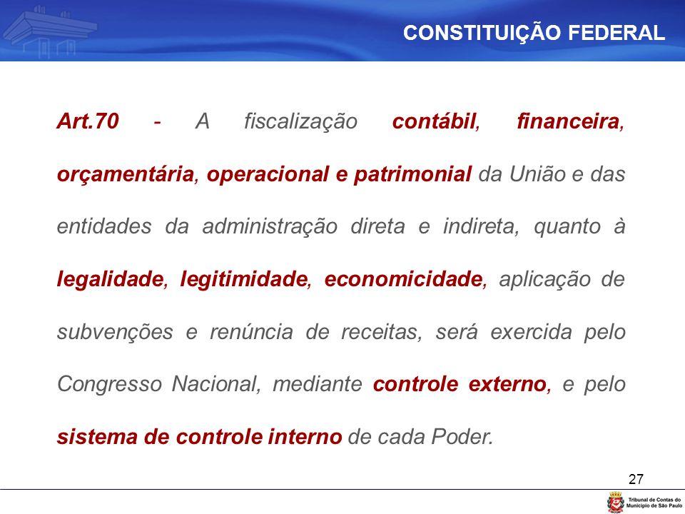 27 Art.70 - A fiscalização contábil, financeira, orçamentária, operacional e patrimonial da União e das entidades da administração direta e indireta,