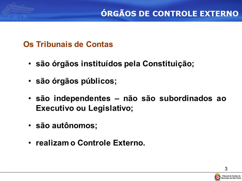 3 Os Tribunais de Contas são órgãos instituídos pela Constituição; são órgãos públicos; são independentes – não são subordinados ao Executivo ou Legis