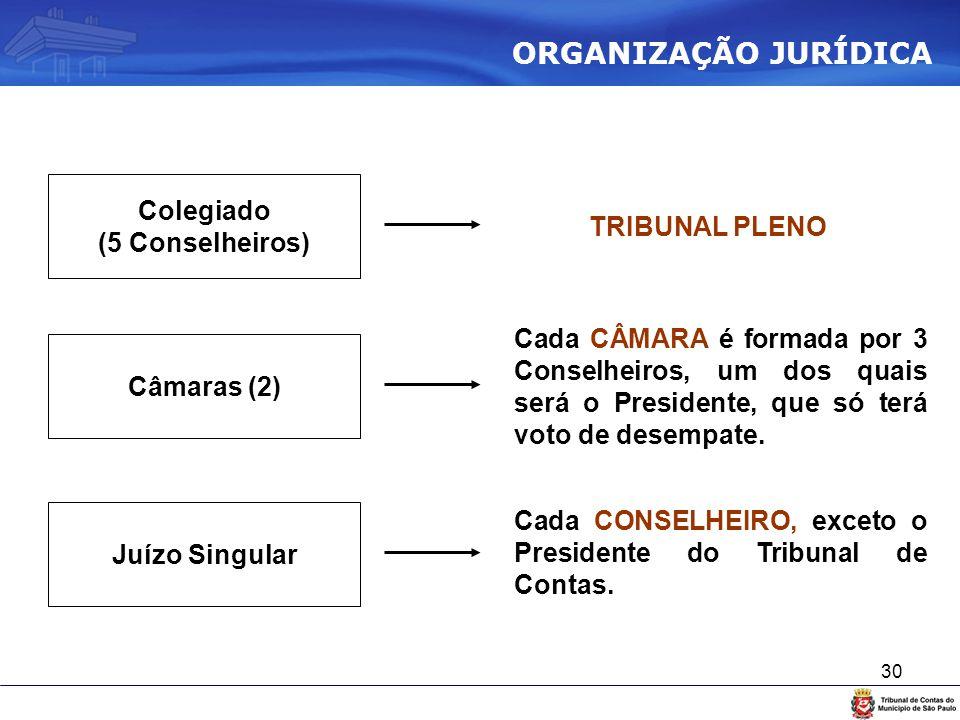 30 Colegiado (5 Conselheiros) Câmaras (2) Juízo Singular TRIBUNAL PLENO Cada CÂMARA é formada por 3 Conselheiros, um dos quais será o Presidente, que