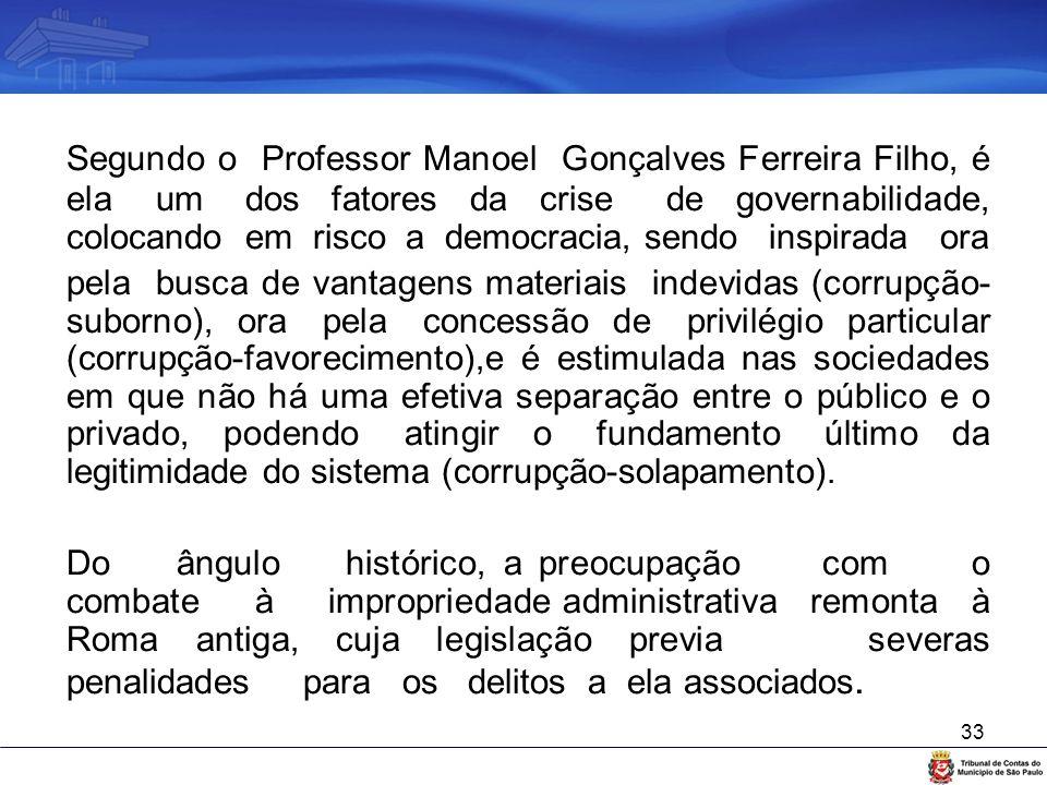 33 Segundo o Professor Manoel Gonçalves Ferreira Filho, é ela um dos fatores da crise de governabilidade, colocando em risco a democracia, sendo inspi