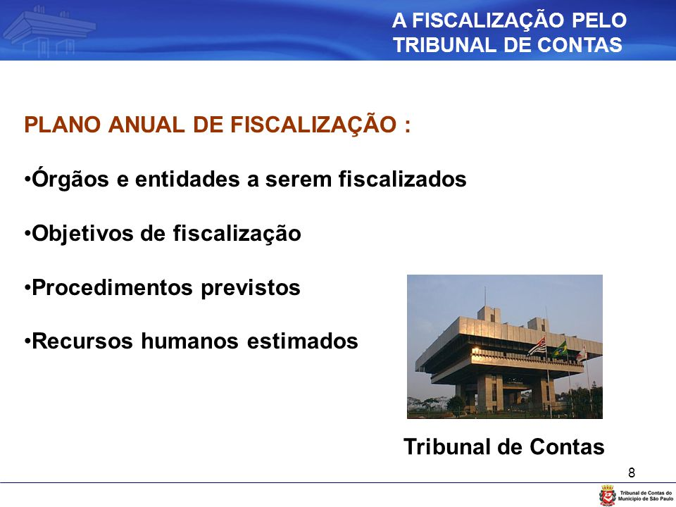 8 PLANO ANUAL DE FISCALIZAÇÃO : Órgãos e entidades a serem fiscalizados Objetivos de fiscalização Procedimentos previstos Recursos humanos estimados T