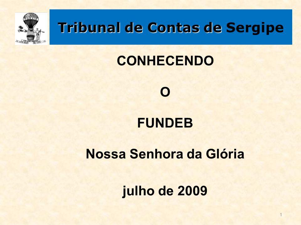 Tribunal de Contas de Tribunal de Contas de Sergipe CONHECENDO O FUNDEB Nossa Senhora da Glória julho de 2009 1