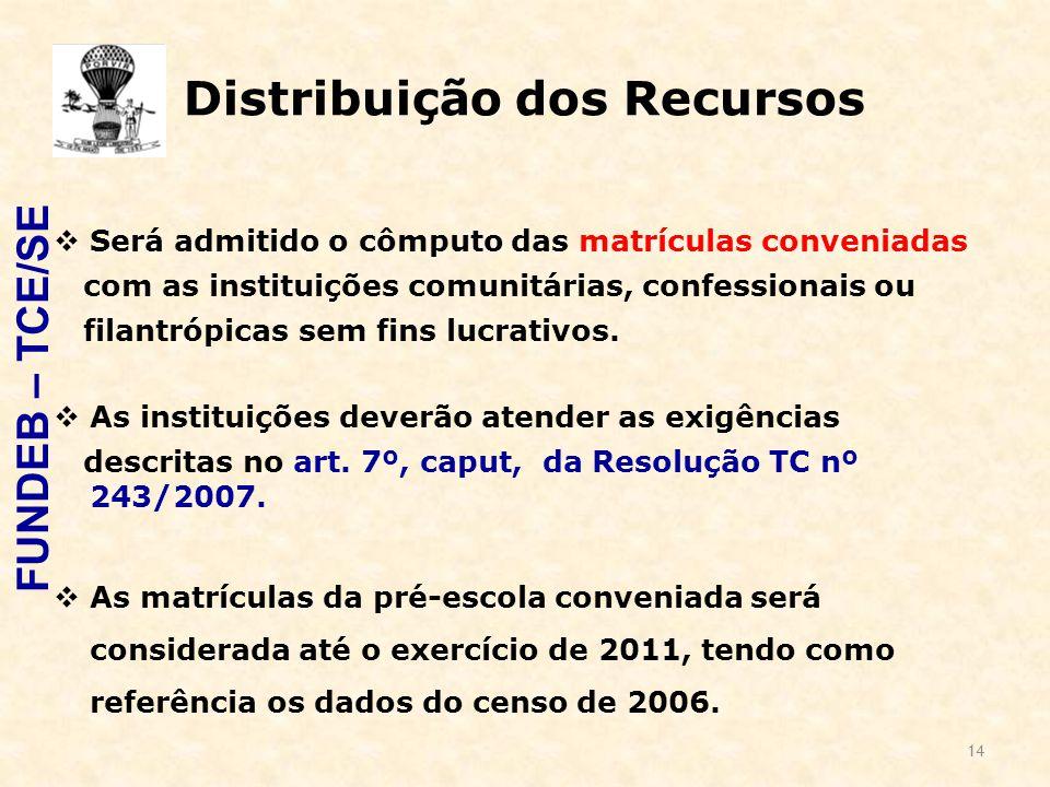 14 Distribuição dos Recursos  Será admitido o cômputo das matrículas conveniadas com as instituições comunitárias, confessionais ou filantrópicas sem fins lucrativos.