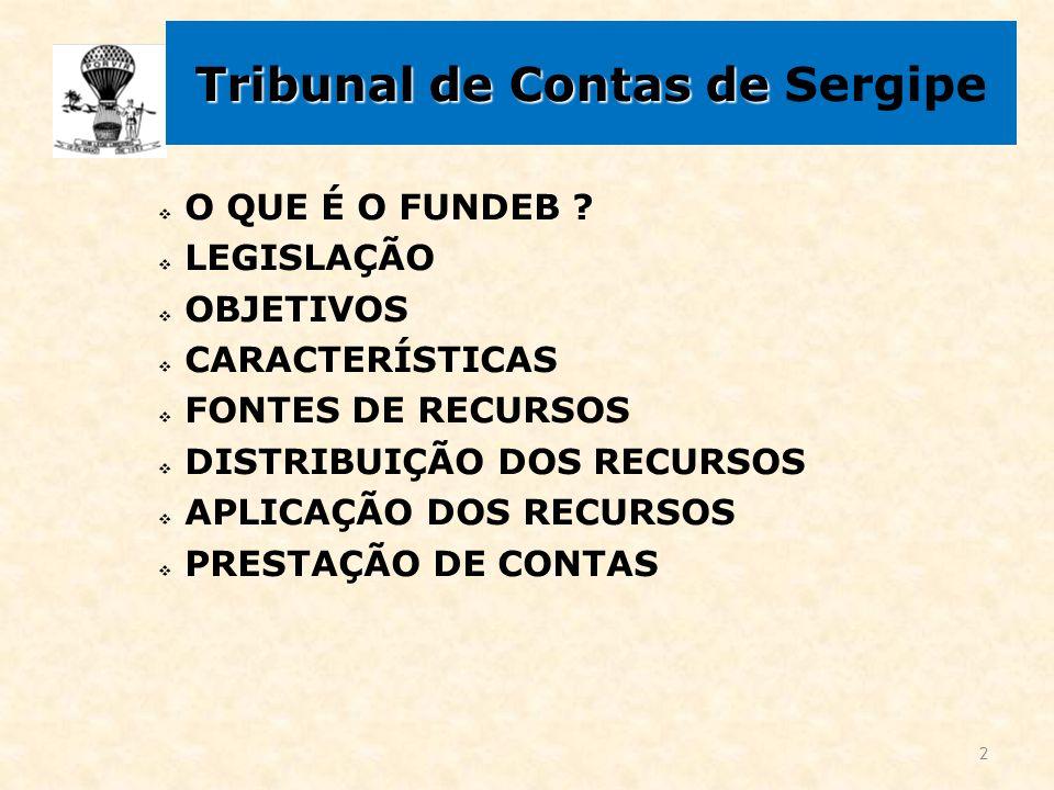 Tribunal de Contas de Tribunal de Contas de Sergipe  O QUE É O FUNDEB ?  LEGISLAÇÃO  OBJETIVOS  CARACTERÍSTICAS  FONTES DE RECURSOS  DISTRIBUIÇÃ