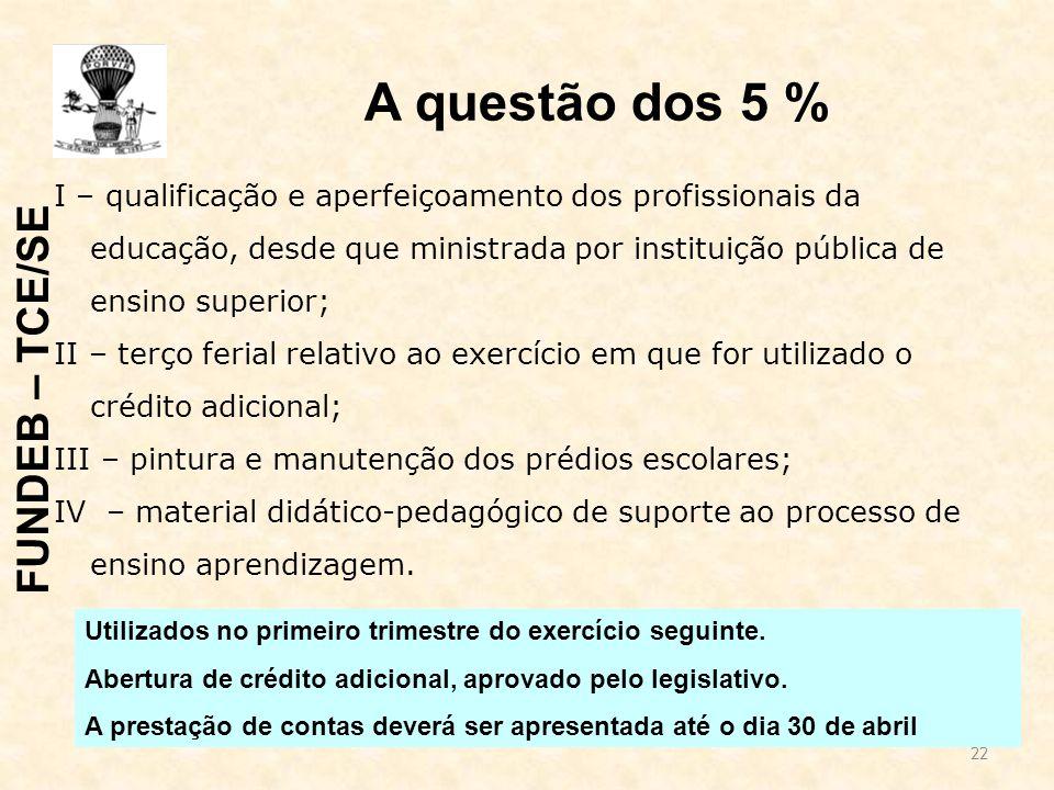 22 A questão dos 5 % I – qualificação e aperfeiçoamento dos profissionais da educação, desde que ministrada por instituição pública de ensino superior