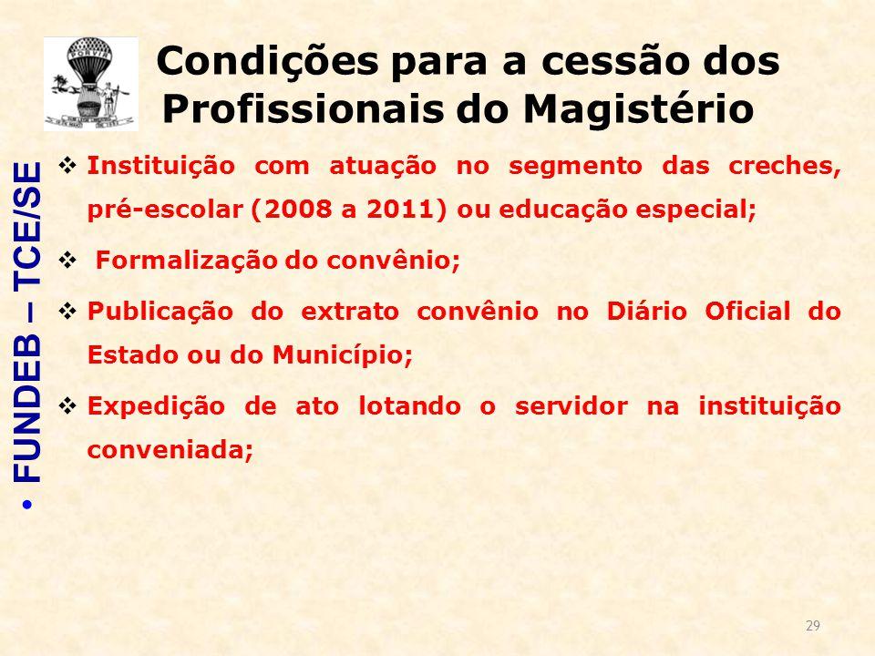 29 Condições para a cessão dos Profissionais do Magistério  Instituição com atuação no segmento das creches, pré-escolar (2008 a 2011) ou educação es