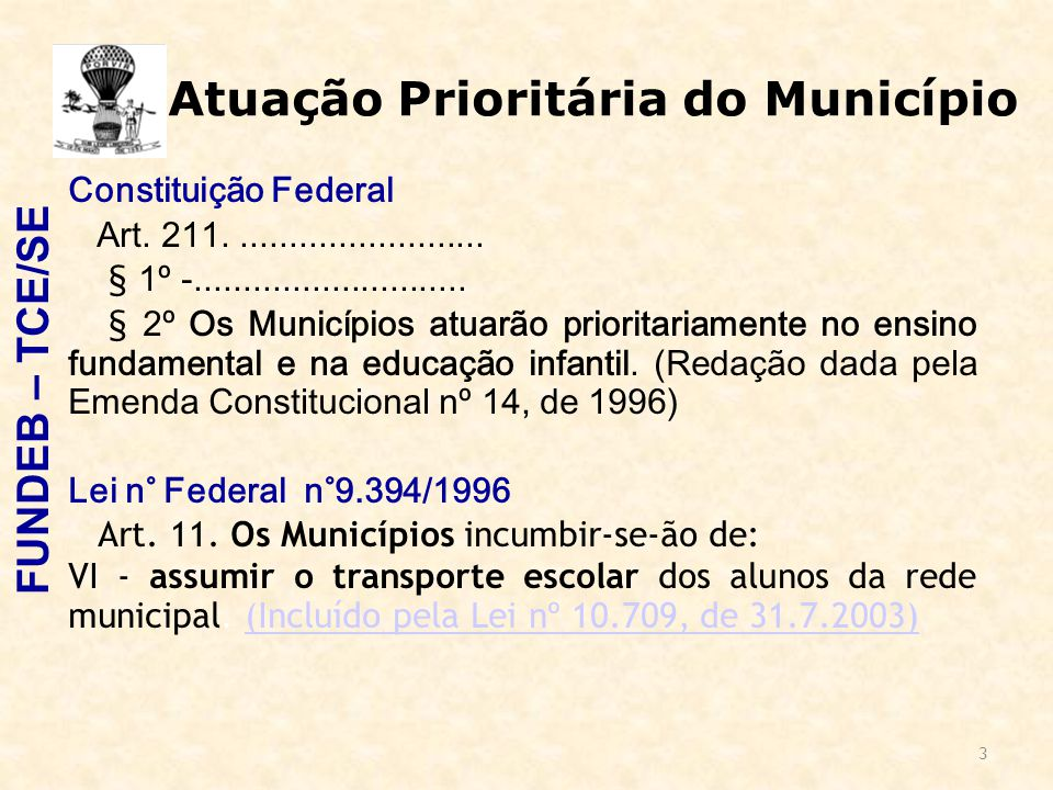 3 Atuação Prioritária do Município Constituição Federal Art. 211.......................... § 1º -............................ § 2º Os Municípios atuar