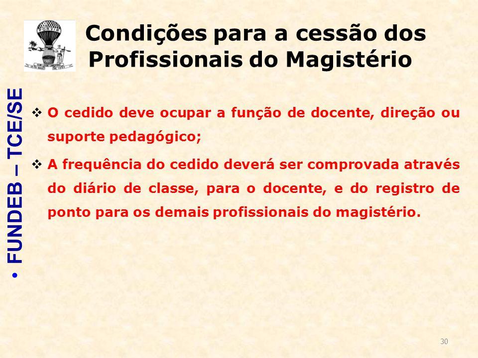 30 Condições para a cessão dos Profissionais do Magistério  O cedido deve ocupar a função de docente, direção ou suporte pedagógico;  A frequência d