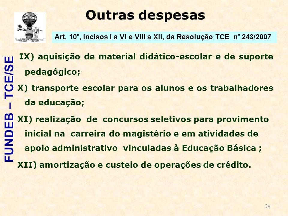 34 Outras despesas IX) aquisição de material didático-escolar e de suporte pedagógico; X) transporte escolar para os alunos e os trabalhadores da educ