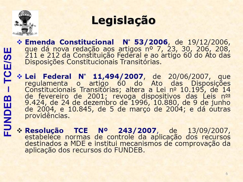 6 Legislação  Emenda Constitucional N° 53/2006, de 19/12/2006, que dá nova redação aos artigos nº 7, 23, 30, 206, 208, 211 e 212 da Constituição Federal e ao artigo 60 do Ato das Disposições Constitucionais Transitórias.