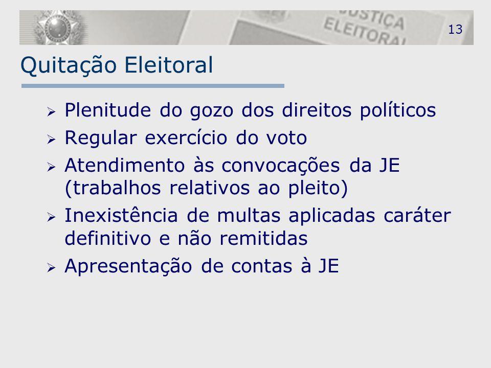 13 Quitação Eleitoral  Plenitude do gozo dos direitos políticos  Regular exercício do voto  Atendimento às convocações da JE (trabalhos relativos a