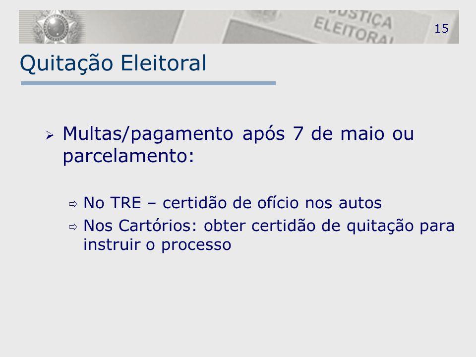 Quitação Eleitoral  Multas/pagamento após 7 de maio ou parcelamento:  No TRE – certidão de ofício nos autos  Nos Cartórios: obter certidão de quita