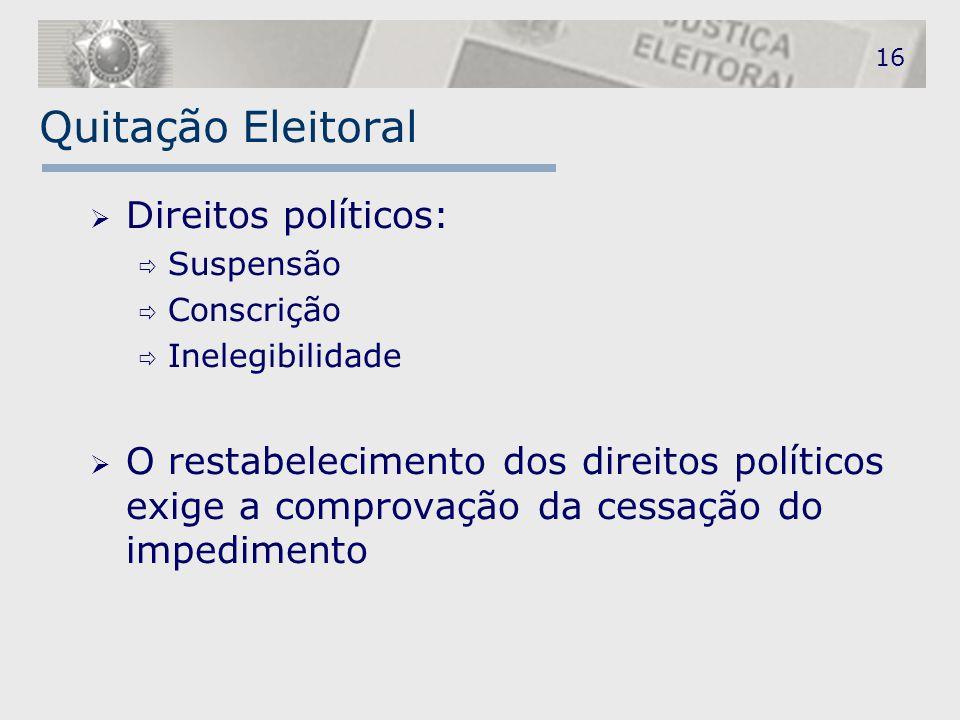 Quitação Eleitoral  Direitos políticos:  Suspensão  Conscrição  Inelegibilidade  O restabelecimento dos direitos políticos exige a comprovação da
