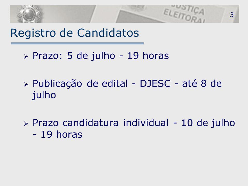 3 Registro de Candidatos  Prazo: 5 de julho - 19 horas  Publicação de edital - DJESC - até 8 de julho  Prazo candidatura individual - 10 de julho -