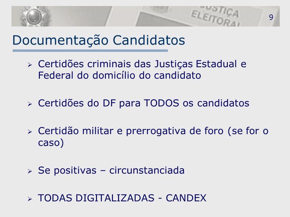 Documentação Candidatos  Certidões criminais das Justiças Estadual e Federal do domicílio do candidato  Certidões do DF para TODOS os candidatos  C