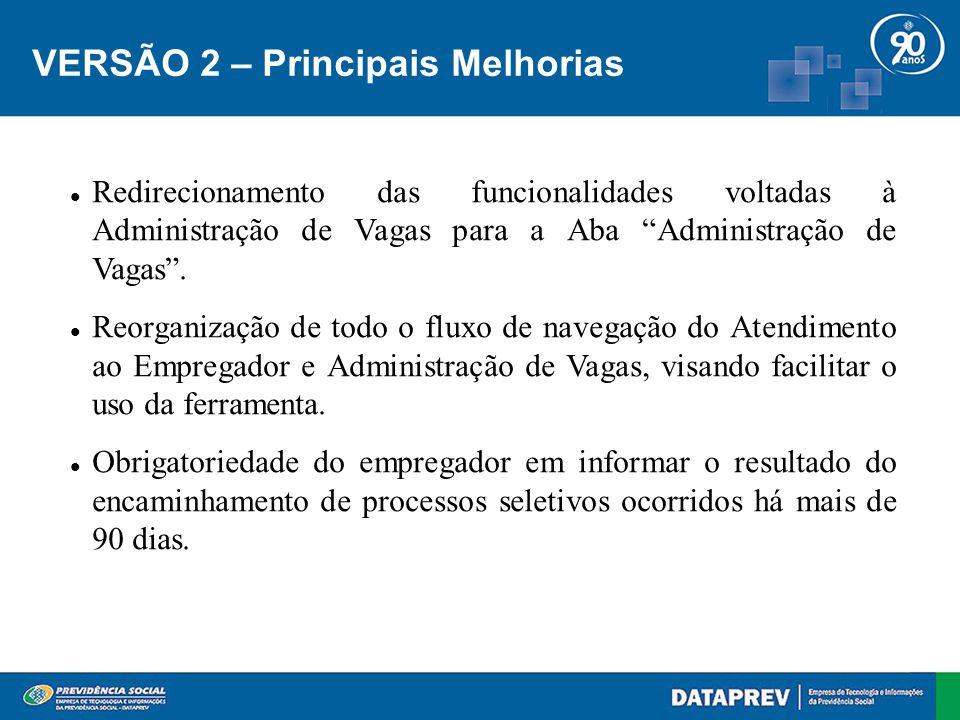 VERSÃO 2 – Principais Melhorias Redirecionamento das funcionalidades voltadas à Administração de Vagas para a Aba Administração de Vagas .