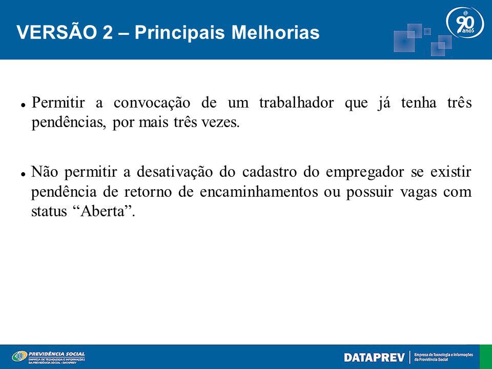 VERSÃO 2 – Principais Melhorias Permitir a convocação de um trabalhador que já tenha três pendências, por mais três vezes.