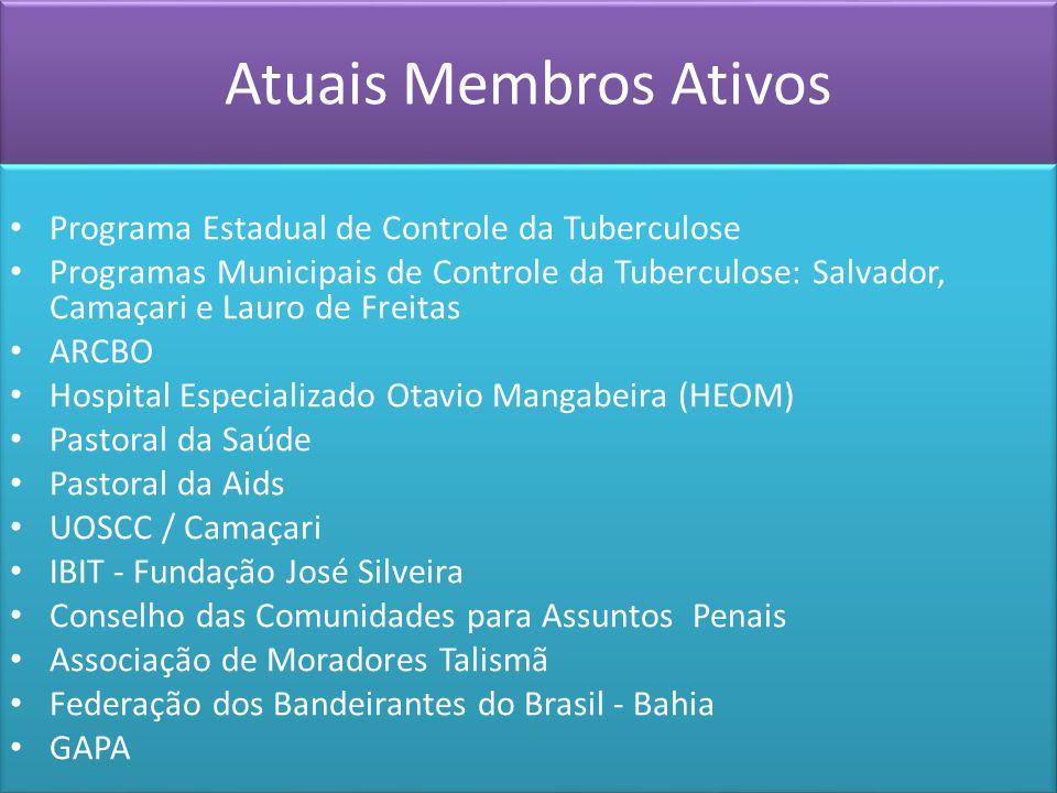Atuais Membros Ativos Programa Estadual de Controle da Tuberculose Programas Municipais de Controle da Tuberculose: Salvador, Camaçari e Lauro de Frei
