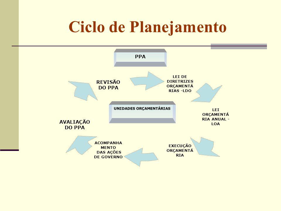 Ciclo de Planejamento AVALIAÇÃO DO PPA UNIDADES ORÇAMENTÁRIAS PPA