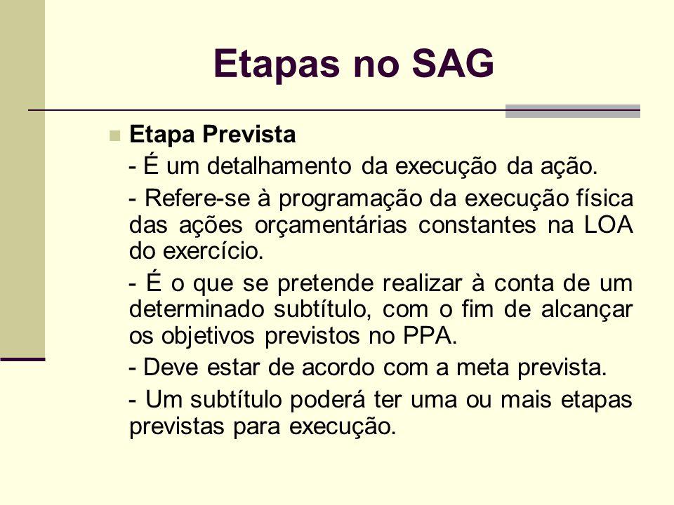Etapas no SAG Etapa Prevista - É um detalhamento da execução da ação. - Refere-se à programação da execução física das ações orçamentárias constantes