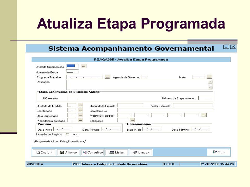 Atualiza Etapa Programada