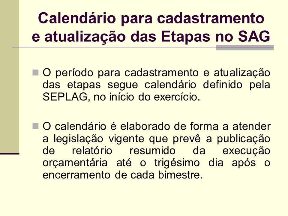 Calendário para cadastramento e atualização das Etapas no SAG O período para cadastramento e atualização das etapas segue calendário definido pela SEP