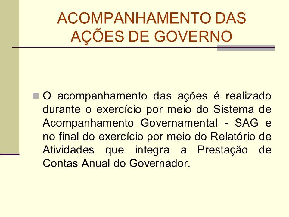 ACOMPANHAMENTO DAS AÇÕES DE GOVERNO O acompanhamento das ações é realizado durante o exercício por meio do Sistema de Acompanhamento Governamental - S
