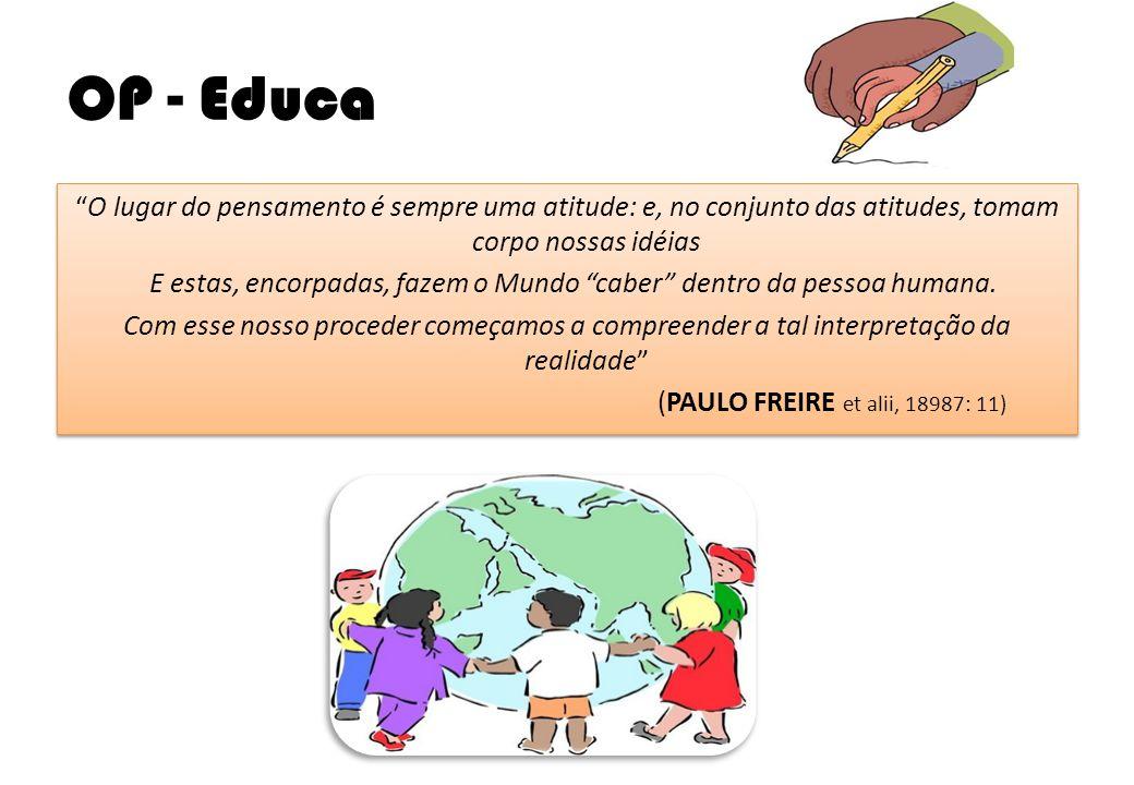 """OP - Educa """"O lugar do pensamento é sempre uma atitude: e, no conjunto das atitudes, tomam corpo nossas idéias E estas, encorpadas, fazem o Mundo """"cab"""