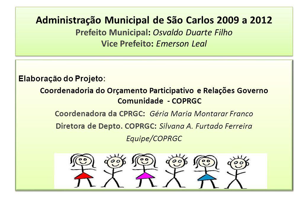 Administração Municipal de São Carlos 2009 a 2012 Prefeito Municipal: Osvaldo Duarte Filho Vice Prefeito: Emerson Leal Elaboração do Projeto: Coordena