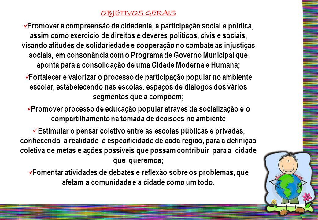 OBJETIVOS GERAIS Promover a compreensão da cidadania, a participação social e política, assim como exercício de direitos e deveres políticos, civis e
