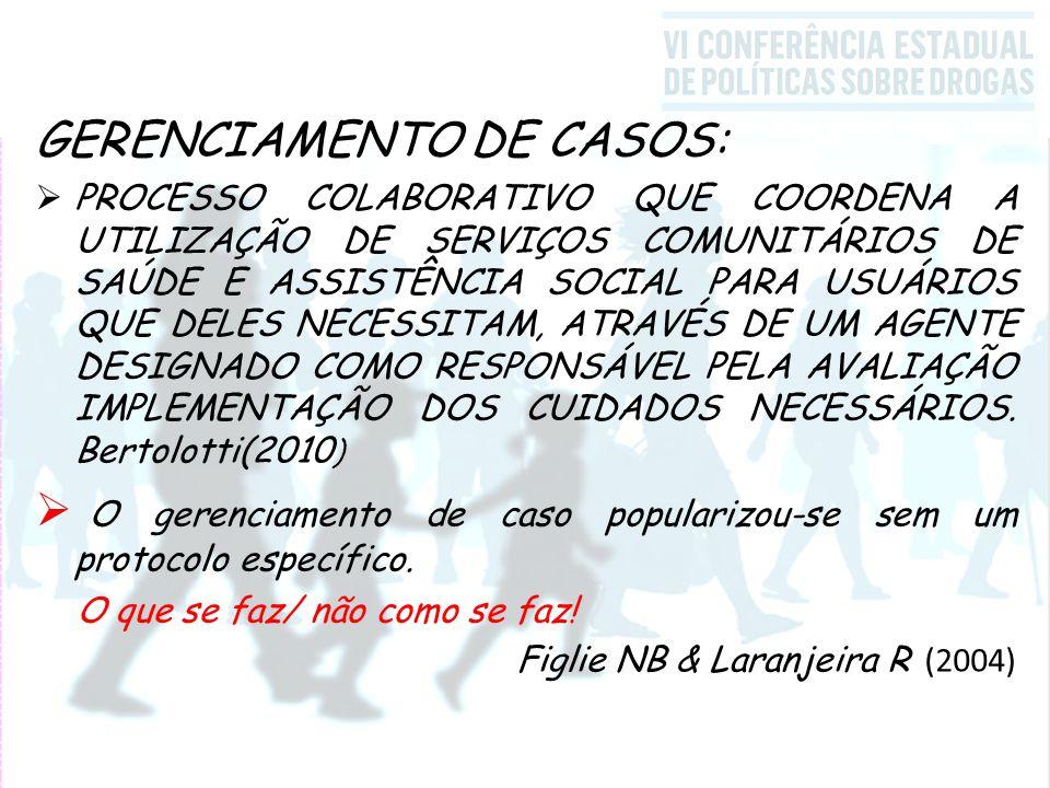 GERENCIAMENTO DE CASOS:  PROCESSO COLABORATIVO QUE COORDENA A UTILIZAÇÃO DE SERVIÇOS COMUNITÁRIOS DE SAÚDE E ASSISTÊNCIA SOCIAL PARA USUÁRIOS QUE DELES NECESSITAM, ATRAVÉS DE UM AGENTE DESIGNADO COMO RESPONSÁVEL PELA AVALIAÇÃO IMPLEMENTAÇÃO DOS CUIDADOS NECESSÁRIOS.