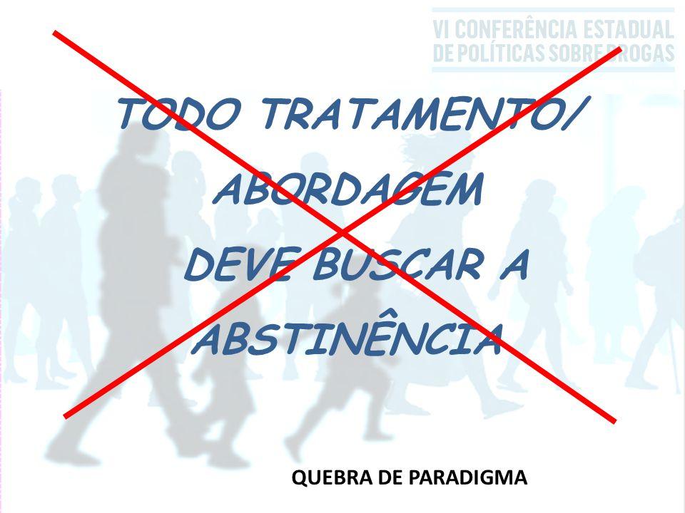 QUEBRA DE PARADIGMA TODO TRATAMENTO/ ABORDAGEM DEVE BUSCAR A ABSTINÊNCIA