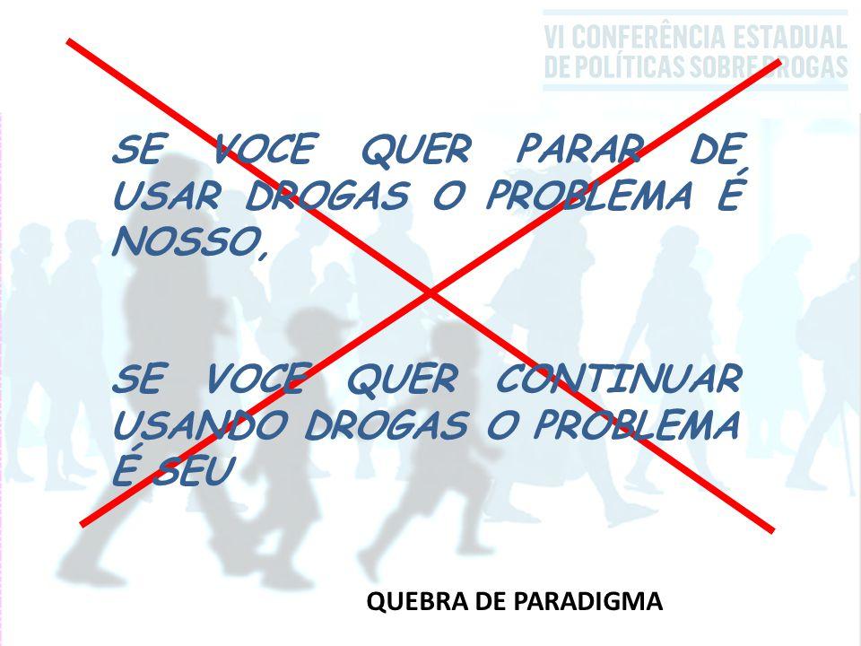 QUEBRA DE PARADIGMA SE VOCE QUER PARAR DE USAR DROGAS O PROBLEMA É NOSSO, SE VOCE QUER CONTINUAR USANDO DROGAS O PROBLEMA É SEU