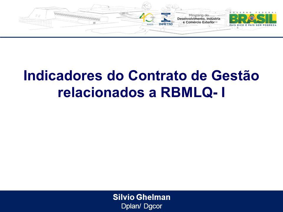 Silvio Ghelman Dplan/ Dgcor Indicadores do Contrato de Gestão relacionados a RBMLQ- I