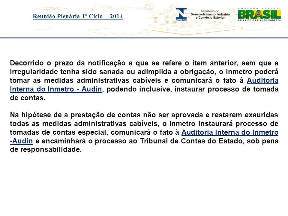 Título do evento Reunião Plenária 1º Ciclo - 2014 Decorrido o prazo da notificação a que se refere o item anterior, sem que a irregularidade tenha sid