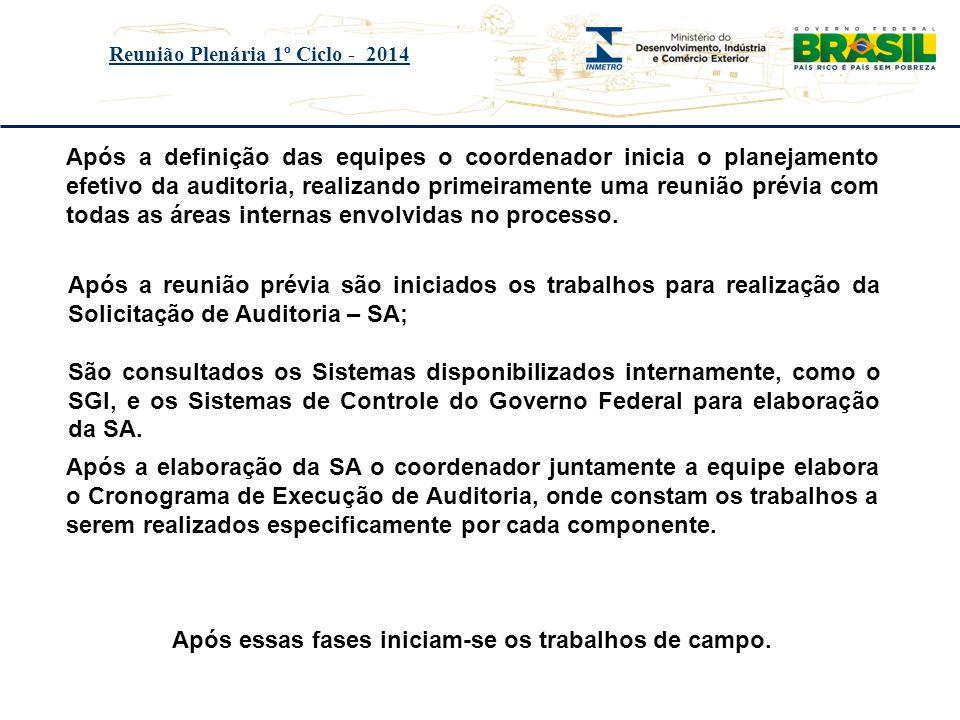 Título do evento Reunião Plenária 1º Ciclo - 2014 Após a definição das equipes o coordenador inicia o planejamento efetivo da auditoria, realizando pr