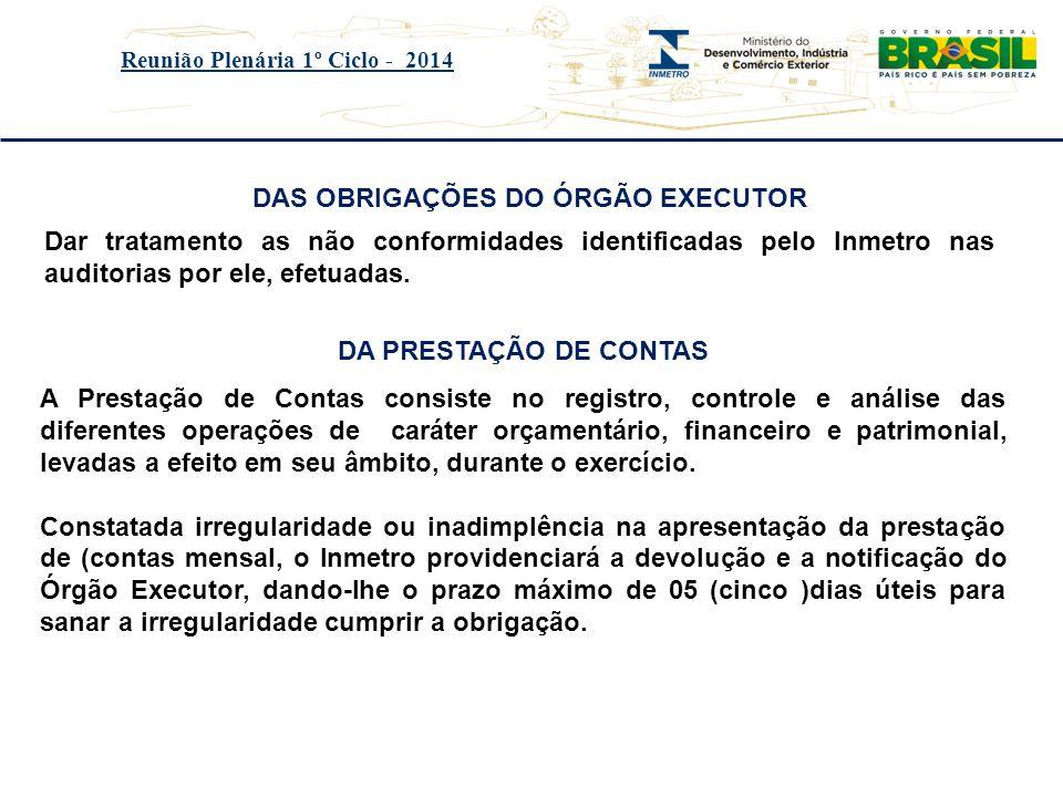 Título do evento Reunião Plenária 1º Ciclo - 2014 DAS OBRIGAÇÕES DO ÓRGÃO EXECUTOR Dar tratamento as não conformidades identificadas pelo lnmetro nas