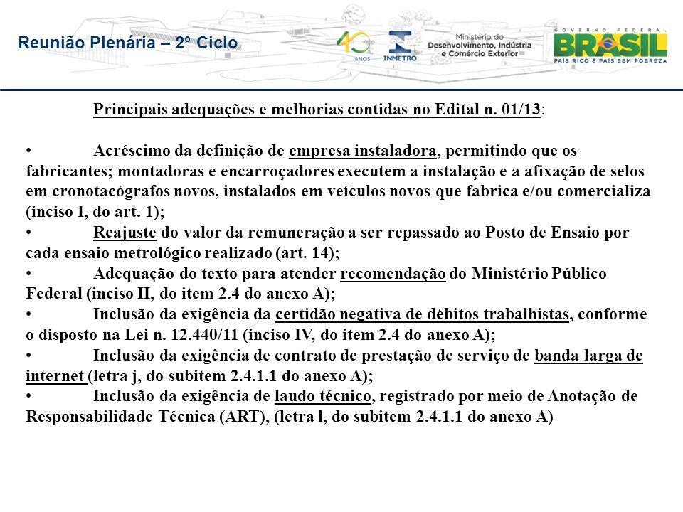 Reunião Plenária – 2° Ciclo Principais adequações e melhorias contidas no Edital n. 01/13: Acréscimo da definição de empresa instaladora, permitindo q