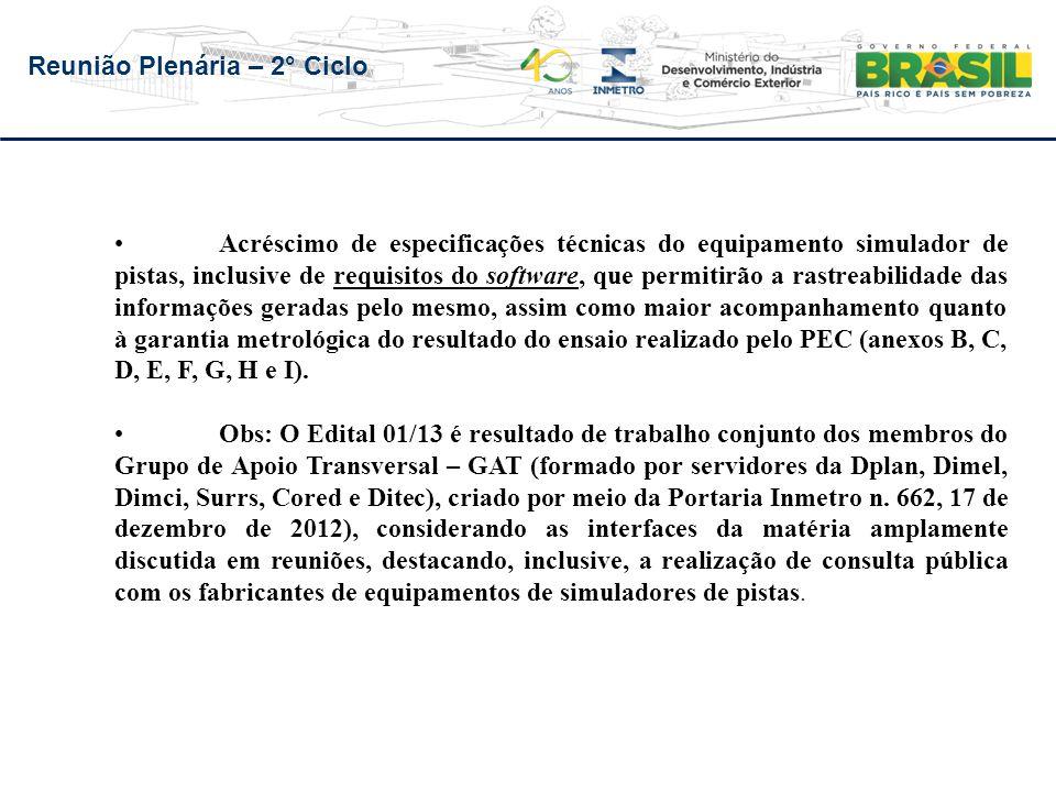 Reunião Plenária – 2° Ciclo 1.Curso de formação de avaliadores de posto de ensaio Público alvo: servidores dos Ipems, Superintendências e Dimel Período: 22 a 26/4/2013 - 30 participantes - 26 aprovações 2.