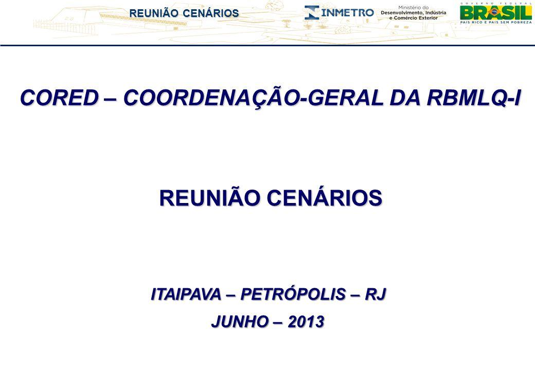 REUNIÃO CENÁRIOS CORED – COORDENAÇÃO-GERAL DA RBMLQ-I REUNIÃO CENÁRIOS JUNHO – 2013 ITAIPAVA – PETRÓPOLIS – RJ