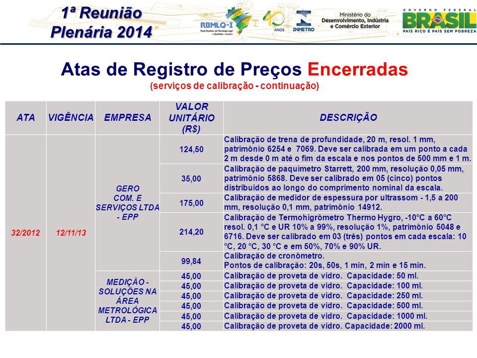 1ª Reunião Plenária 2014 ATAVIGÊNCIAEMPRESA VALOR UNITÁRIO (R$) DESCRIÇÃO 32/201212/11/13 GERO COM. E SERVIÇOS LTDA - EPP 124,50 Calibração de trena d