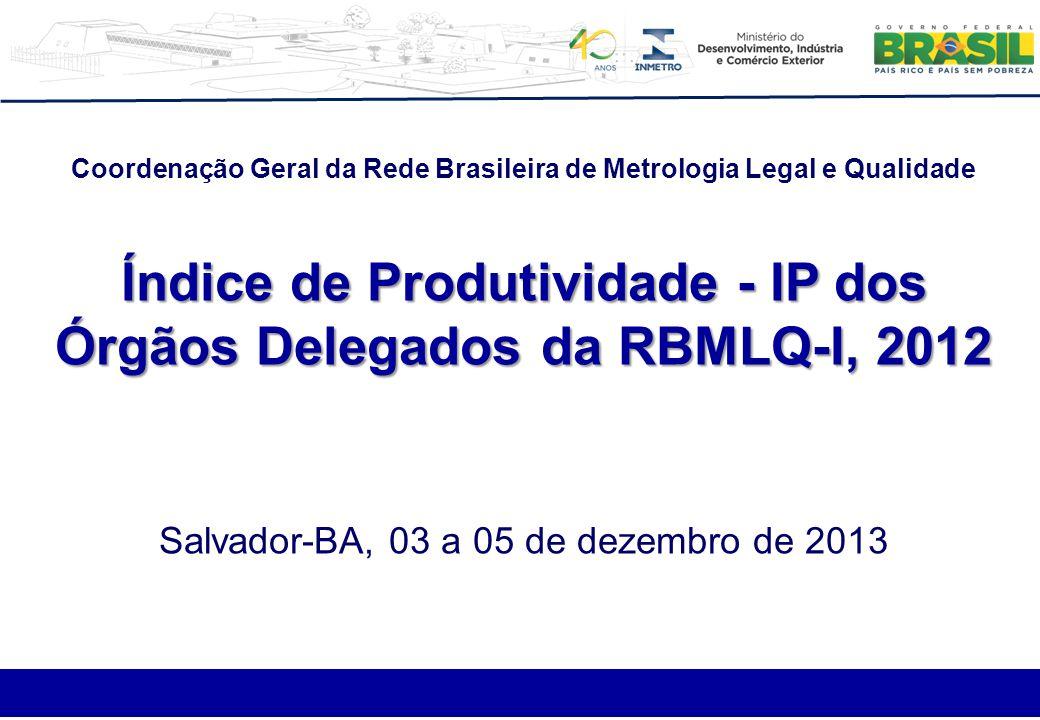Coordenação Geral da Rede Brasileira de Metrologia Legal e Qualidade Índice de Produtividade - IP dos Órgãos Delegados da RBMLQ-I, 2012 Salvador-BA, 0