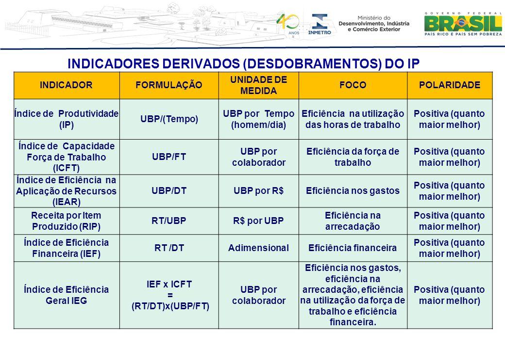 INDICADORES DERIVADOS (DESDOBRAMENTOS) DO IP INDICADORFORMULAÇÃO UNIDADE DE MEDIDA FOCOPOLARIDADE Índice de Produtividade (IP) UBP/(Tempo) UBP por Tem