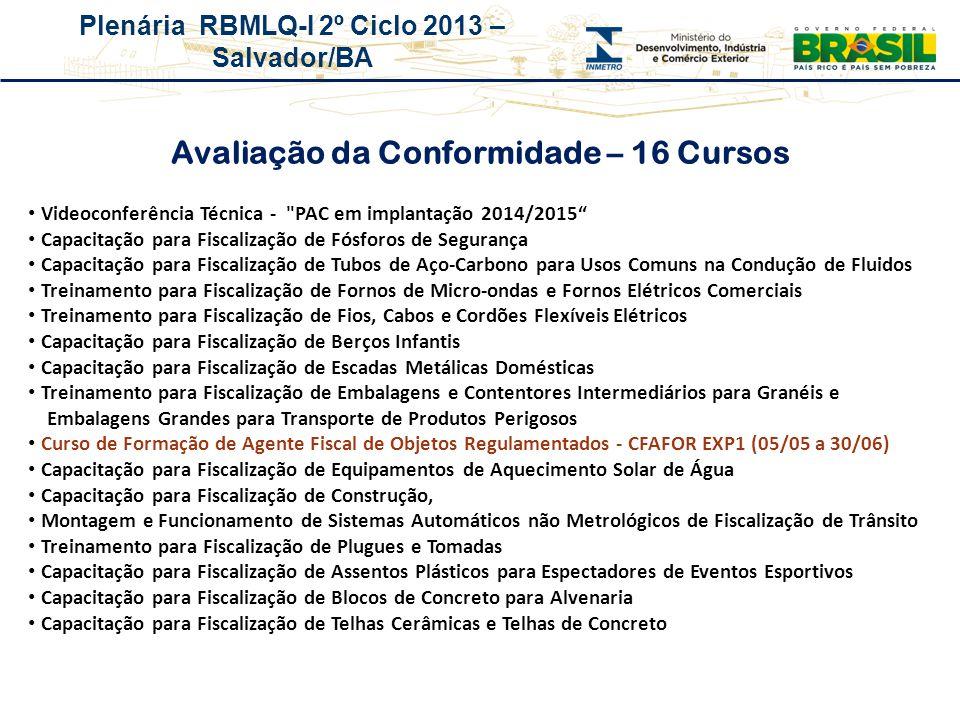 Plenária RBMLQ-I 2º Ciclo 2013 – Salvador/BA Avaliação da Conformidade – 16 Cursos Videoconferência Técnica -