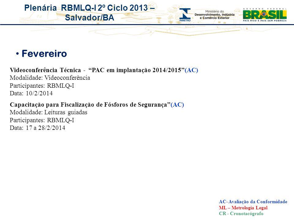 Plenária RBMLQ-I 2º Ciclo 2013 – Salvador/BA Fevereiro AC- Avaliação da Conformidade ML – Metrologia Legal CR - Cronotacógrafo Videoconferência Técnic