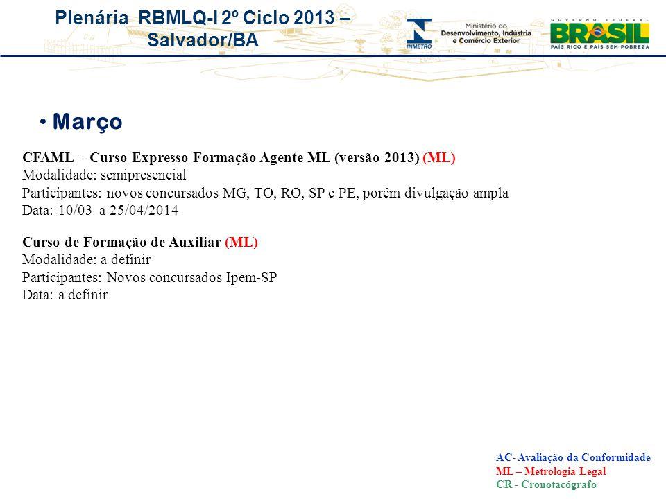 Plenária RBMLQ-I 2º Ciclo 2013 – Salvador/BA Março AC- Avaliação da Conformidade ML – Metrologia Legal CR - Cronotacógrafo Curso de Formação de Auxili