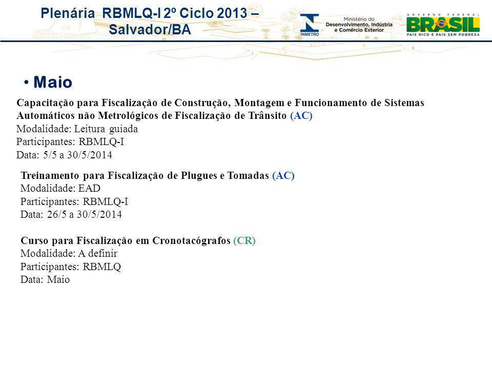 Plenária RBMLQ-I 2º Ciclo 2013 – Salvador/BA Capacitação para Fiscalização de Construção, Montagem e Funcionamento de Sistemas Automáticos não Metroló